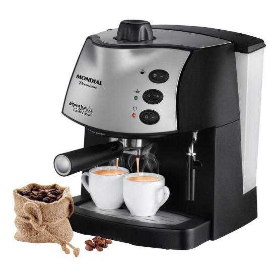 CAFETEIRA EXPRESSO MONDIAL COFFEE CREAM PREMIUM - PRETA E PRATA