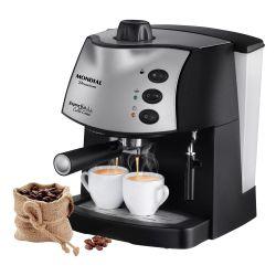 IMAGEM 1: CAFETEIRA EXPRESSO MONDIAL COFFEE CREAM PREMIUM - PRETA E PRATA