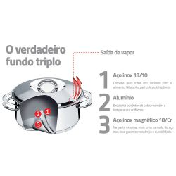 IMAGEM 7: CONJUNTO DE PANELAS TRAMONTINA SOLAR SUPER - FUNDO TRIPLO - 6 PEÇAS - AÇO INOX