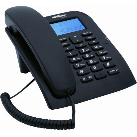 TELEFONE COM FIO INTELBRAS TC 60 ID COM IDENTIFICADOR DE CHAMADA E VIVA-VOZ - PRETO