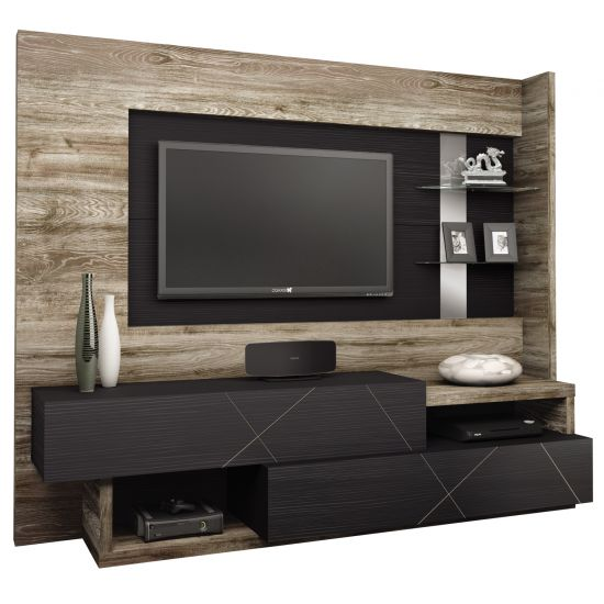 ESTANTE HOME THEATER PRESENCE CAEMMUN - MILANO/PRETO TEX