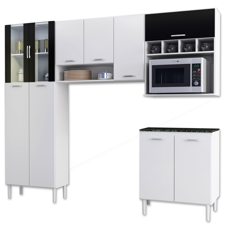 #717259 Cozinha Aramóveis Lirian 2174 10 Portas Branco/Preto J. Mahfuz 1600x1600 px Armario De Cozinha Compacta Branco #1927 imagens