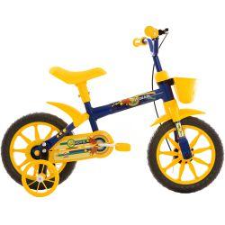IMAGEM 1: BICICLETA INFANTIL MASCULINA TRACK & BIKES NOVA ARCO ÍRIS - ARO 12 - AMARELO/AZUL