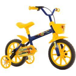IMAGEM 2: BICICLETA INFANTIL MASCULINA TRACK & BIKES NOVA ARCO ÍRIS - ARO 12 - AMARELO/AZUL