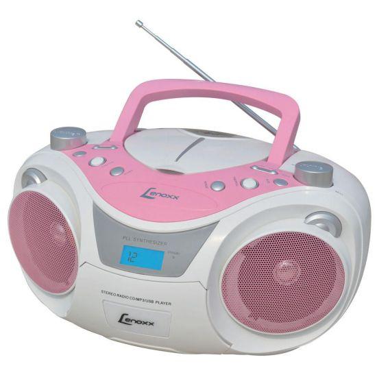 SOM PORTÁTIL LENOXX BD 1250 COM RÁDIO FM ESTÉREO - CD PLAYER - MP3 - ENTRADA AUXILIAR - USB - BRANCO E ROSA