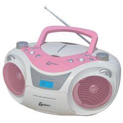 IMAGEM 1: SOM PORTÁTIL LENOXX BD 1250 COM RÁDIO FM ESTÉREO - CD PLAYER - MP3 - ENTRADA AUXILIAR - USB - BRANCO E ROSA