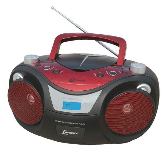 SOM PORTÁTIL LENOXX BD 1250 COM RÁDIO FM ESTÉREO - CD PLAYER - MP3 - ENTRADA AUXILIAR - USB - PRETO E VERMELHO