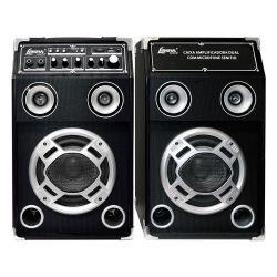 IMAGEM 1: CAIXA AMPLIFICADA LENOXX CA 320  DUPLA MULTIUSO - ENTRADAS PARA ÁUDIO - USB - CARÃO SD - MICROFONE - GUITARRA - MP3 - PRETO
