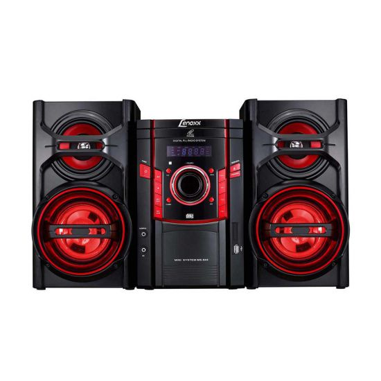 MINI SYSTEM LENOXX MS 844 COM CD PLAYER - MP3 - USB - RÁDIO FM - ENTRADA AUXILIAR -  PRETO E VERMELHO