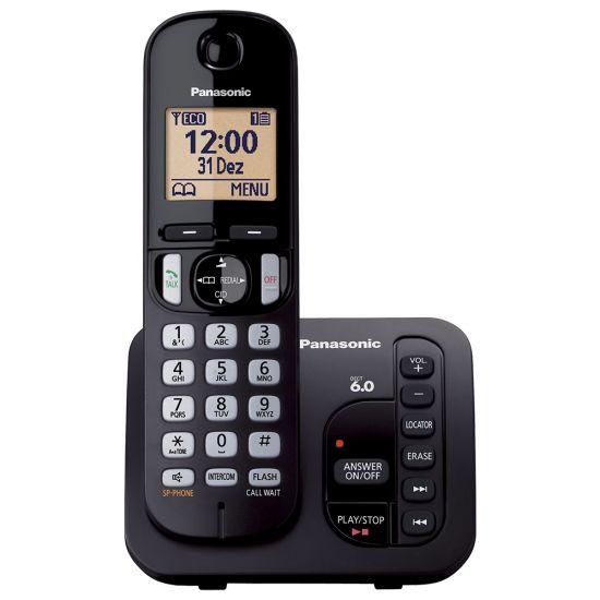 TELEFONE SEM FIO PANASONIC KX-TGC220LBB - SECRETÁRIA ELETRÔNICA - TECLADO ILUMINADO - PRETO