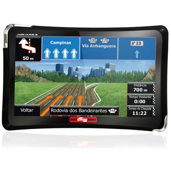 """GPS AQUARIUS GUIA QUATRO RODAS - TELA 4.3"""" SLIM - TV DIGITAL - 2GB MEMÓRIA INTERNA - ENTRADAS USB E MICRO SD - PRETO"""