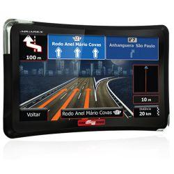"""IMAGEM 1: GPS AQUARIUS GUIA QUATRO RODAS - TELA 7.0"""" SLIM - TV DIGITAL - 2GB MEMÓRIA INTERNA - ENTRADAS USB E MICRO SD - PRETO"""
