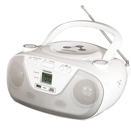 RÁDIO PORTÁTIL SEMP TOSHIBA BOOMBOX TR8003MU - CD PLAYER - MP3 PLAYER - USB - AM/FM - BRANCO
