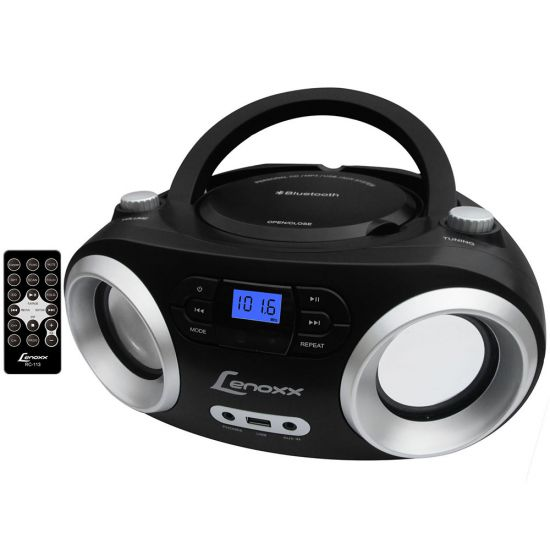 RÁDIO COM CD PLAYER LENOXX BOOMBOX BD-1360 - USB - MP3 - BLUETOOTH - RÁDIO FM - AUXILIAR - PRETO