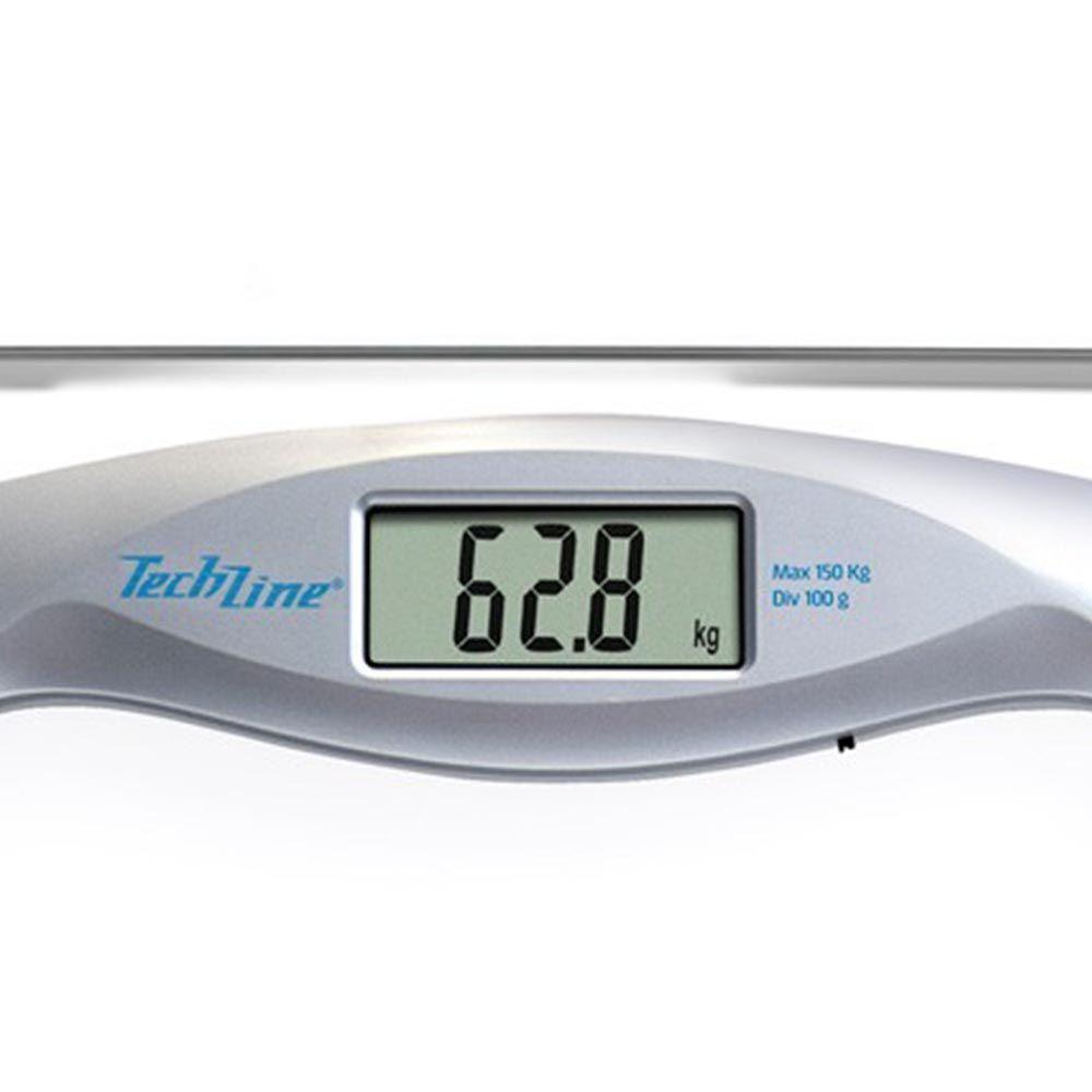 Balança de Vidro Digital Techline Tec Silver Quadrada Até 150Kg  #2D7A9F 1600x1600 Balança Digital Para Banheiro Techline