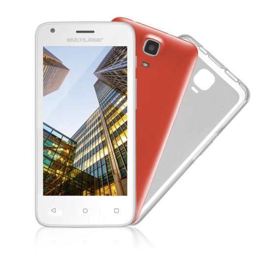 "SMARTPHONE DESBLOQUEADO MULTILASER MS45 COLORS  - QUAD-CORE 1.2GHZ - DUAL CHIP - TELA 4.5"" - ANDROID LOLLIPOP - CÂMERA 5MP - INTERNET 3G - WI-FI - 8GB - CASE COLORIDO - BRANCO"