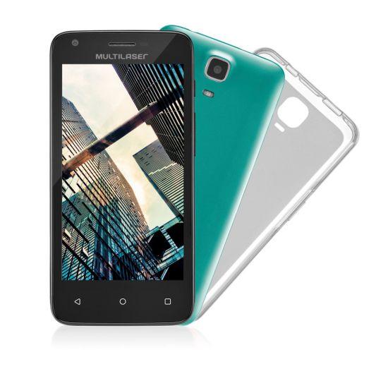 "SMARTPHONE DESBLOQUEADO MULTILASER MS45 COLORS  - QUAD-CORE 1.2GHZ - DUAL CHIP - TELA 4.5"" - ANDROID LOLLIPOP - CÂMERA 5MP - INTERNET 3G - WI-FI - 8GB - CASE COLORIDO - PRETO"