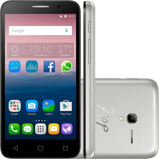 SMARTPHONE DESBLOQUEADO ALCATEL ONE TOUCH POP 3 - CÂMERA TRASEIRA E FRONTAL DE 8MP - DUAL CHIP -INTERNET 3G - WI-FI - PRETO / PRATA