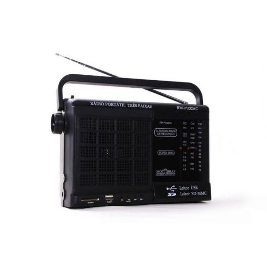 RÁDIO PORTÁTIL RM-PU32 MOTOBRAS 3 FAIXAS FM/OM/OC USB E LEITOR DE CARTÕES