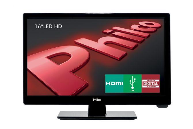 """TV LED 16"""" PHILCO PH16D10D HD CONVERSOR DIGITAL HDMI - PRETO"""