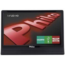 """IMAGEM 1: TV LED 14"""" PHILCO PH14E10D HD CONVERSOR DIGITAL HDMI - PRETO"""