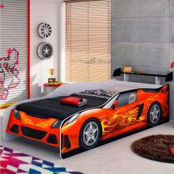 IMAGEM 2: CAMA SOLTEIRO MÓVEIS ESTRELA CARRO SPORT CAR COM AEROFÓLIO E PROTEÇÃO LATERAL