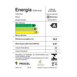 IMAGEM 5: MICRO-ONDAS ELECTROLUX MTD30 COM 20 LITROS E 10 NÍVEIS DE POTÊNCIA