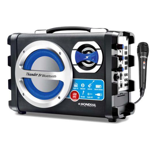 CAIXA ACÚSTICA MONDIAL MCO-04 THUNDER IV COM BLUETOOTH ENTRADA USB BATERIA INTERNA RECARREGÁVEL E RÁDIO FM