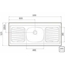 IMAGEM 2: PIA TRAMONTINA 120X52 93041/507 - INOX