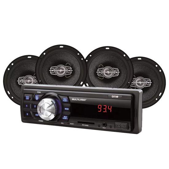 "KIT SOM AUTOMOTIVO MULTILASER MP3 ONE + 4 ALTO FALANTES  QUADRIAXIAL 6"""