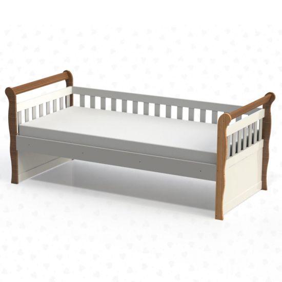 CAMA INFANTIL CAROLINA BABY BABÁ JÚLIA - AMADEIRADO RÚSTICO E BRANCO