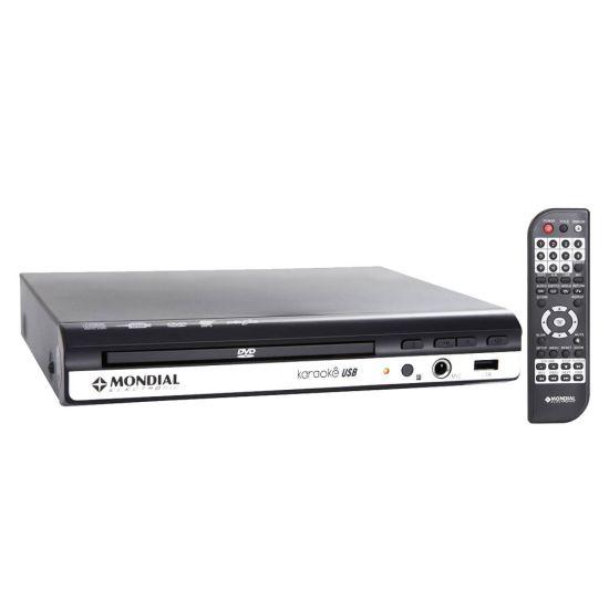 DVD KARAOKÊ MONDIAL D-15 COM CONTROLE REMOTO E USB - PRETO