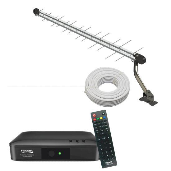 COMBO ANTENA EXTERNA UHF E HDTV + CONVERSOR C/ GRAVADOR DIGITAL VISIONTEC